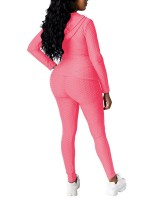 Pink Zip Hoodie With High-Waist Leggings Classic Clothing