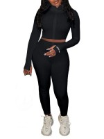 Black Zipper Thumbhole Cropped 2 Piece Outfits Casual Wear