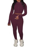 Wine Red High Waist Letter Print 2 Piece Outfits Ultra Cheap