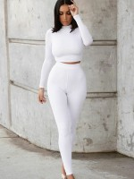 2 Pieces Outfits White Cropped Solid Color Feminine Elegance