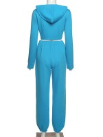 Blue Hooded Neck Zip Top And High Waist Pants Women Fashion Style