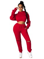 Red Women Suit Drawstring High Rise Zipper For Streetshots