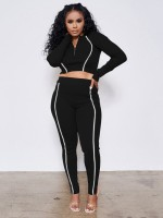 Black Full Sleeve Two Piece Outfits Zipper Neck Ladies Fashion