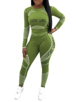 Green Contrast Color Full Length Sweat Suit Fashion Shopping