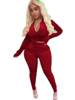 Red Zipper Golden Velvet Two Piece Outfits Quality Assured