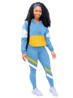 Sky Blue Zipper Full Sleeve Patchwork Sweat Suit Fashion Insider