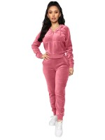 Pink Sweat Suit Hooded Neck Ankle Length Capture Elegance