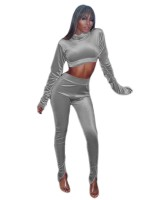 Gray Velvet Crop Top Full Length Leggings Fashion Ideas