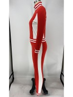 Red Athletic Suit Zipper Colorblock Ankle Length Kinetic Weekend