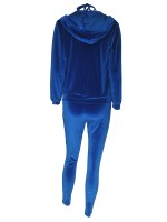 Blue Hood Zipper 3 Pieces Outfit With Pockets Trendy Clothes