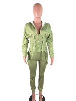 Army Green Hooded Collar High Waist Women Suit Vacation Time