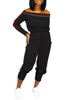 Well-Suited Black 2 Pieces Off Shoulder Top Sports Pants Women Outfit