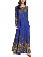 Fashionable Blue Embroidered Muslim Maxi Round Neck printed long Dress