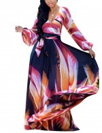 Digital Print V-Collar Maxi Dress