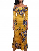 African Print Off Shoulder Maxi Dress