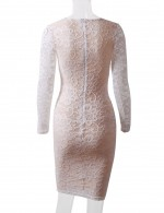 Glitter White Bodycon Dress Lace Patchwork Long Sleeve Simplicity