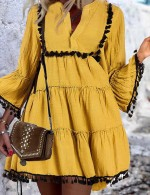 Delicate Yellow Shirred V-Neck Bell Sleeve Skater Dress For Beauty