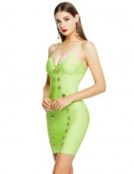 Light Green Bandage Dress U-Neck Metal Button Zipper All-Match Style