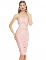 Surprising Pink Hollow Out Zipper Bandage Dress Cross Back