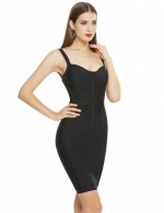 Summer Black Slender Straps Bandage Dress Backless Ladies Grace