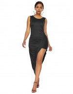 Extraordinary Solid Black Irregular Unilateral Skirt Dress Superior Comfort