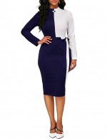 Alluring Blue Contrast Color Waist Belt Bodycon Dress Lady Dress
