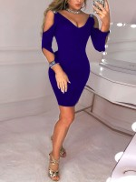 Sweety Blue Deep-V Glitter Full Sleeve Bodycon Dress Comfort Fabric