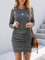 Flowing Dark Gray Long Sleeve Shirring Bodycon Dress Plain For Hanging Out