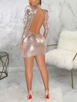 Fetching Rose Gold High Neck Bodycon Dress Long Sleeve Cheap Wholesale