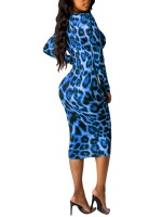 Elegant Light Blue Plunge Collar Leopard Paint Bodycon Dress Fashion