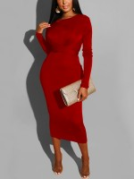 Catching Red Tie Waist Crew Neck Bodycon Dress For Traveling