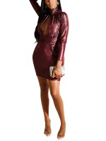 Comfort Red Mini Length Zipper Glitter Bodycon Dress On-Trend Fashion