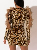 Flattering Leopard Printed Bodycon Dress V Collar Ladies Elegance
