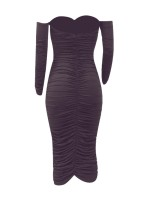 Surprising Dark Coffee Solid Color Full Sleeve Bodycon Dress Ultra Sexy