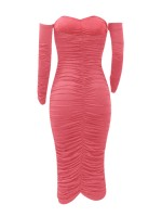 Unique Rose Red Bodycon Dress Ruched Sweetheart Neck For Every Occasion