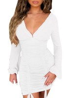 Absorbing White Bodycon Dress Plunge Collar Mini Length Fashion