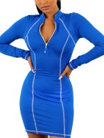 Simplicity Blue Zipper Mini Bodycon Dress Long Sleeves Fashion Insider