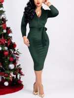 Trendy Blackish Green Solid Color Waist Tie Bodycon Dress Fashion Comfort