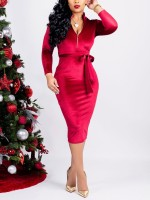Sophisticated Red Velvet Long Sleeve Zip Bodycon Dress All Over Smooth