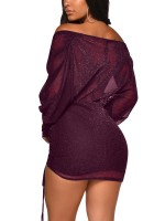 Excellent Deep Purple Pleated Mesh Bodycon Dress Sequin Comfort Fit