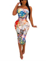 Brightly White Bandeau Bodycon Dress Letter Print Great Quality