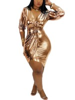 Seductive Rose Gold Bodycon Dress Gold Stamping Deep-V Chic Fashion