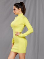 Charming Yellow High Neck Bodycon Dress Solid Color Slim