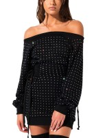 Figure-Hugging Black One Shoulder Rhinestone Bodycon Dress Fabulous Fit