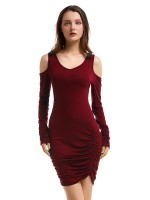 Loose Wine Red Pleated Bodycon Dress Mini Length Slim Fit