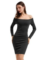 Exotic Black Bodycon Dress Lace-Up Solid Color Fashion Sale