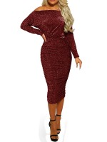 Sultry Red Midi Length Bodycon Dress Sequin Pullover