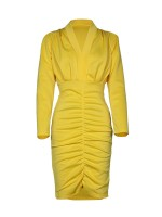Smooth Yellow Deep-V Neck Solid Color Bodycon Dress Woman