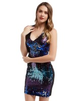 Eye Catcher Purple Zipper At Back Sequin Bodycon Dress Stretch