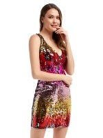 Adorable Red Sleeveless Sequin Bodycon Dress Zipper Superior Quality